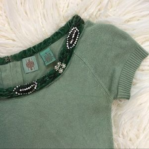 HWR ANTHROPOLOGIE green pearl collar shirt small